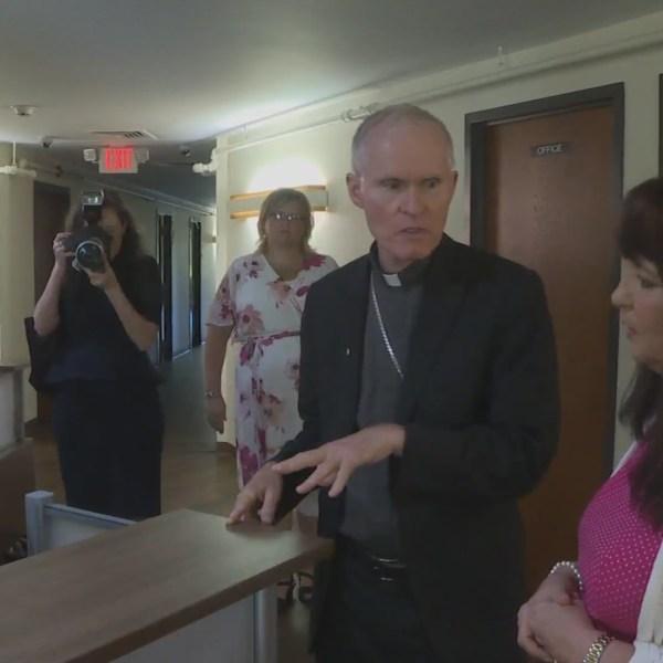 Bishop Mark Brennan visits Serenity Hills
