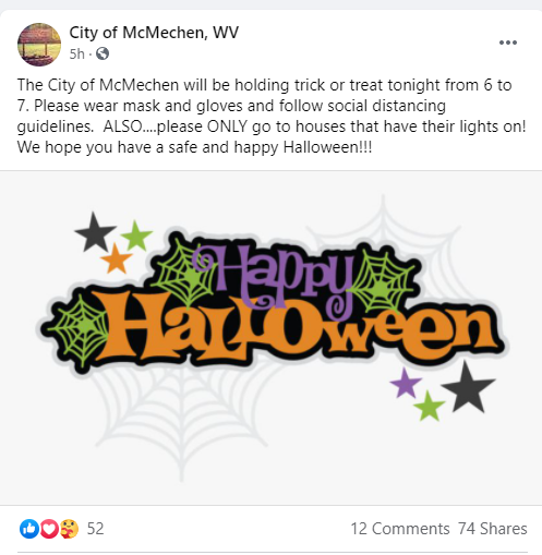 Mcmechen Says Happy Halloween Trick Or Treat Will Go On Today As Scheduled Wtrf